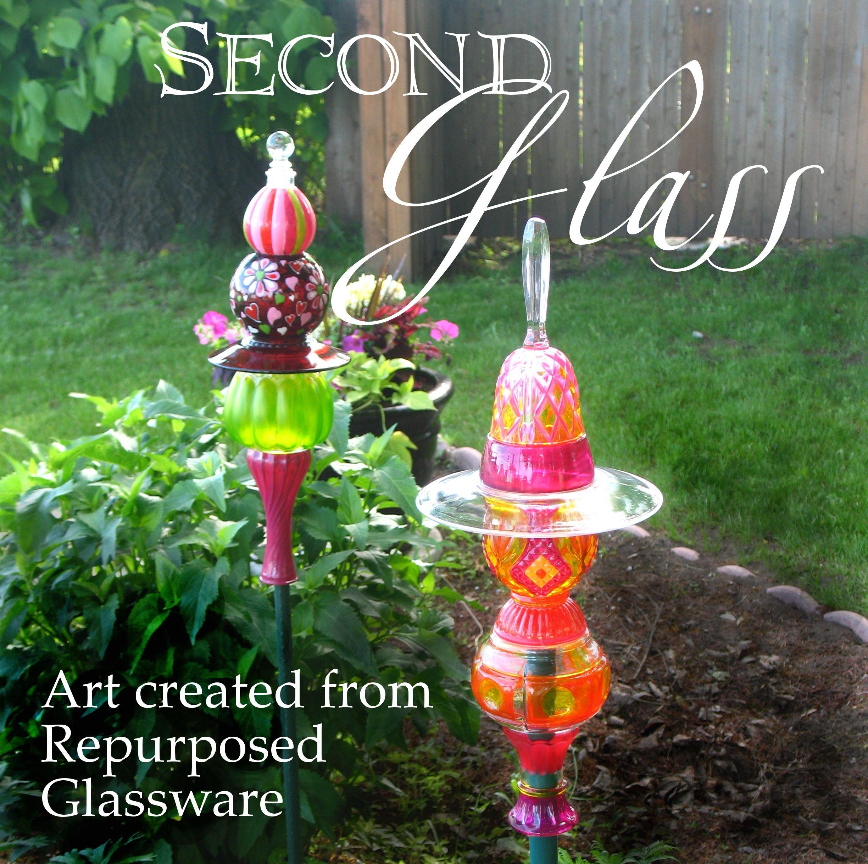 Whimsical Glass Garden Art Made From Repurposed Glassware