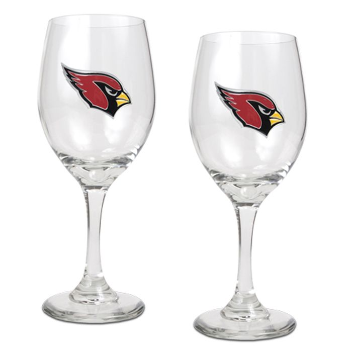 Set of 2 Arizona Cardinals NFL 14oz. Wine Glasses - 2pc Wine Glass Set