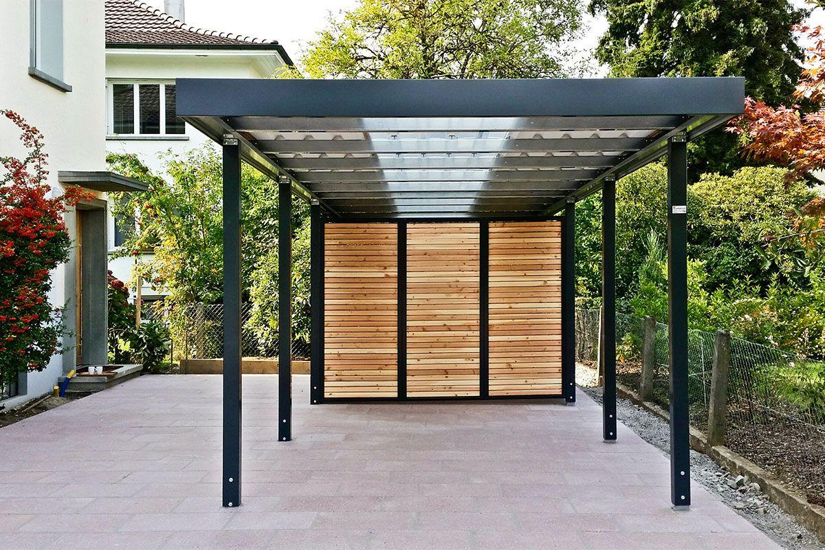 carport mit lichtbahn und ger teraum carport einhausungen eingangs berdachung m lltonnenbox. Black Bedroom Furniture Sets. Home Design Ideas