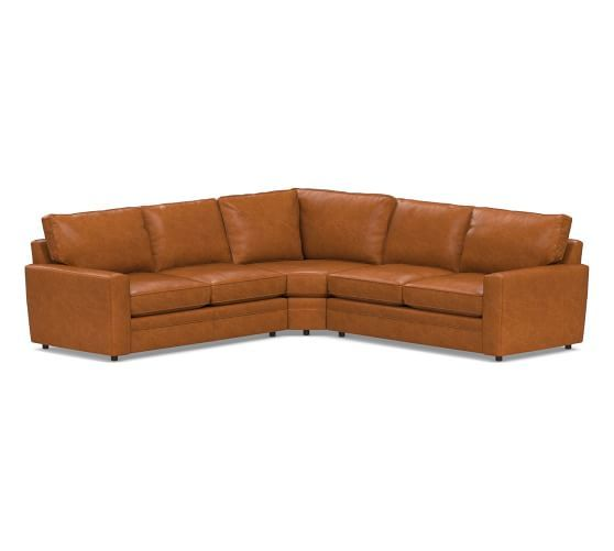 Pearce Square Arm Leather 3 Piece L Shaped Sectional With