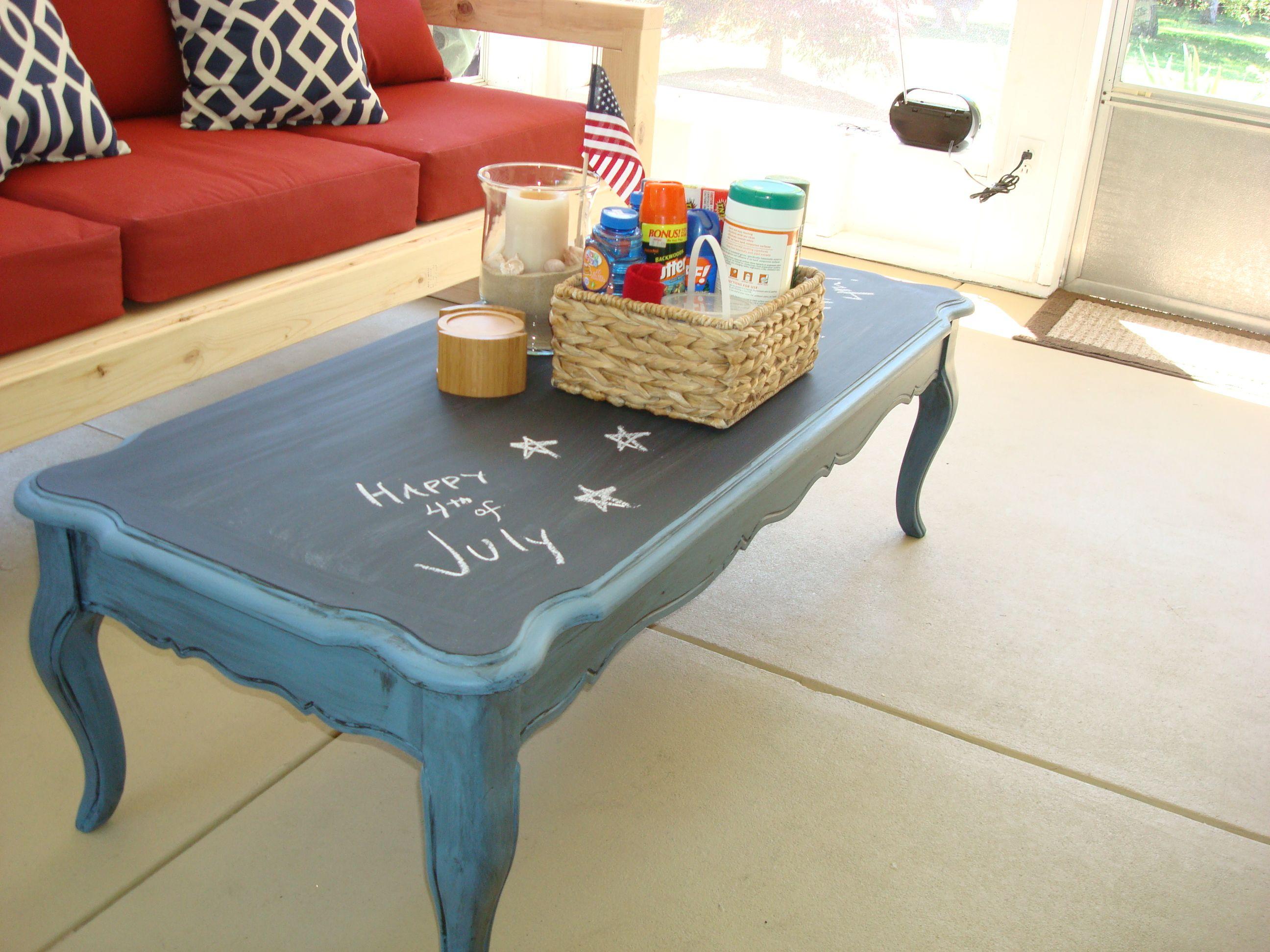 Stolen Idea: Chalkboard Top Coffee Table