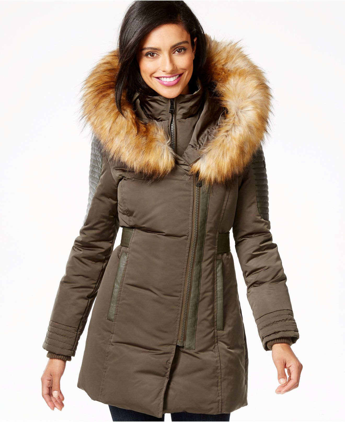 1 Madison Expedition Faux-Fur-Trim Layered Asymmetrical Down Coat ...