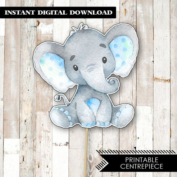 d8e0a1aed Blue Elephant Baby Shower Centrepiece. Printable Elephant Cake Topper. Boy Baby  Shower Printable Cake Topper. Blue Baby Shower Centerpiece.