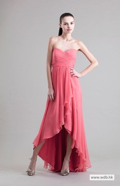 floor length bridesmaid dresses Charming strapless high-low chiffon ...