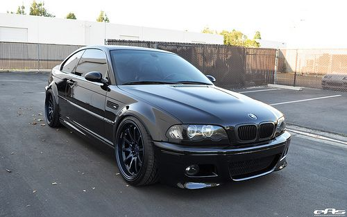 Black E46 M3 with Magnesium Blue Volk CE28 Wheels | Kidneys