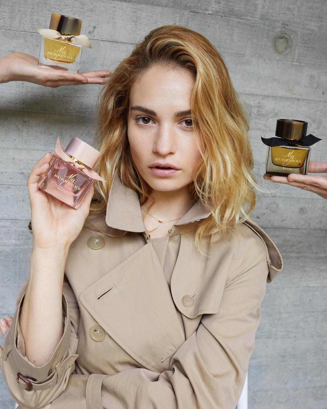 Lily james looks pretty in pink for my burberry blush fragrance ad