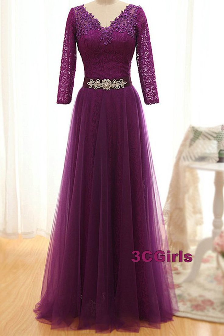 Modest prom dress ball gown elegant purple tulle lace prom dress