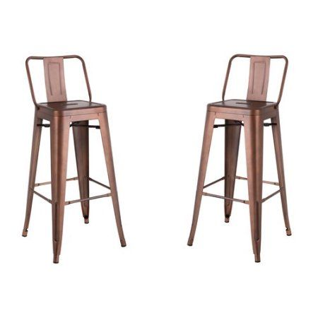 Ac Pacific Distressed Metal Barstool With Back Black 30 Inch