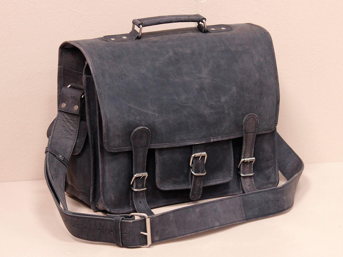 70733abacf38 Black Medium Overlander Leather Satchel 16 inch  https   www.scaramangashop.co