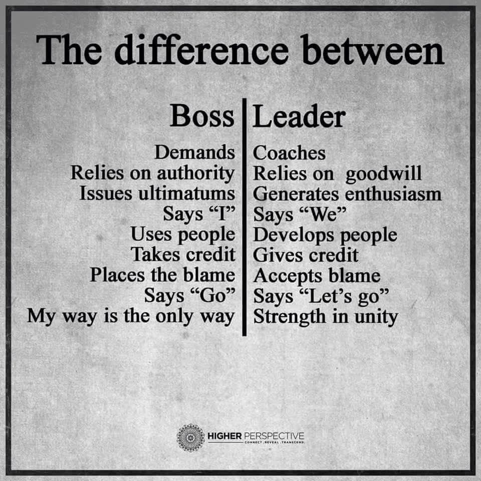 Bosses Versus Leaders Leader Quotes Leadership Quotes Work Quotes