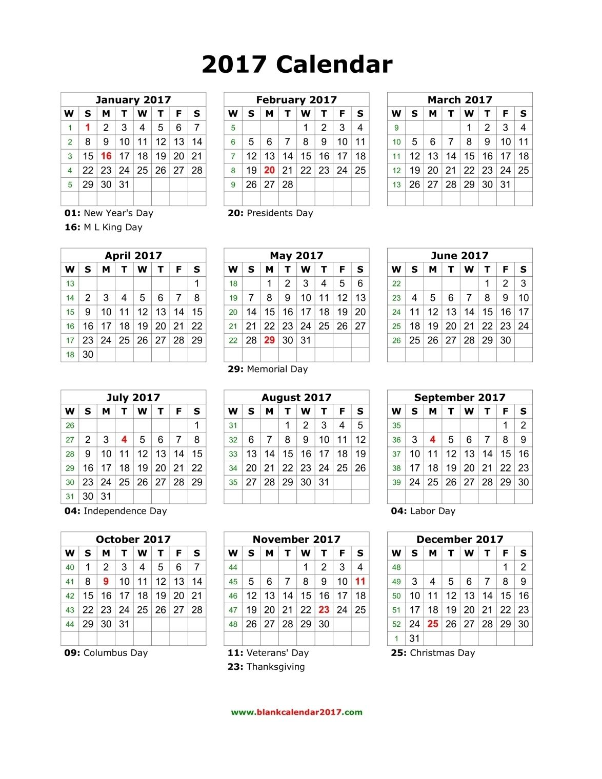 Blank Holidays Calendar Portrait
