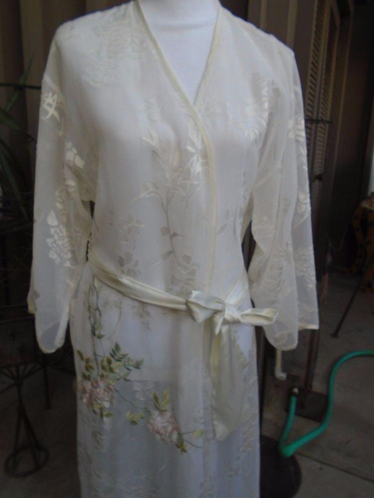 Natori Ladies Kimono Long Robe XS/S Cream Sheer Brocade Lace Pale Pink Roses  #Natori #Kimonolongnegligeerobe #Bridaleveryday