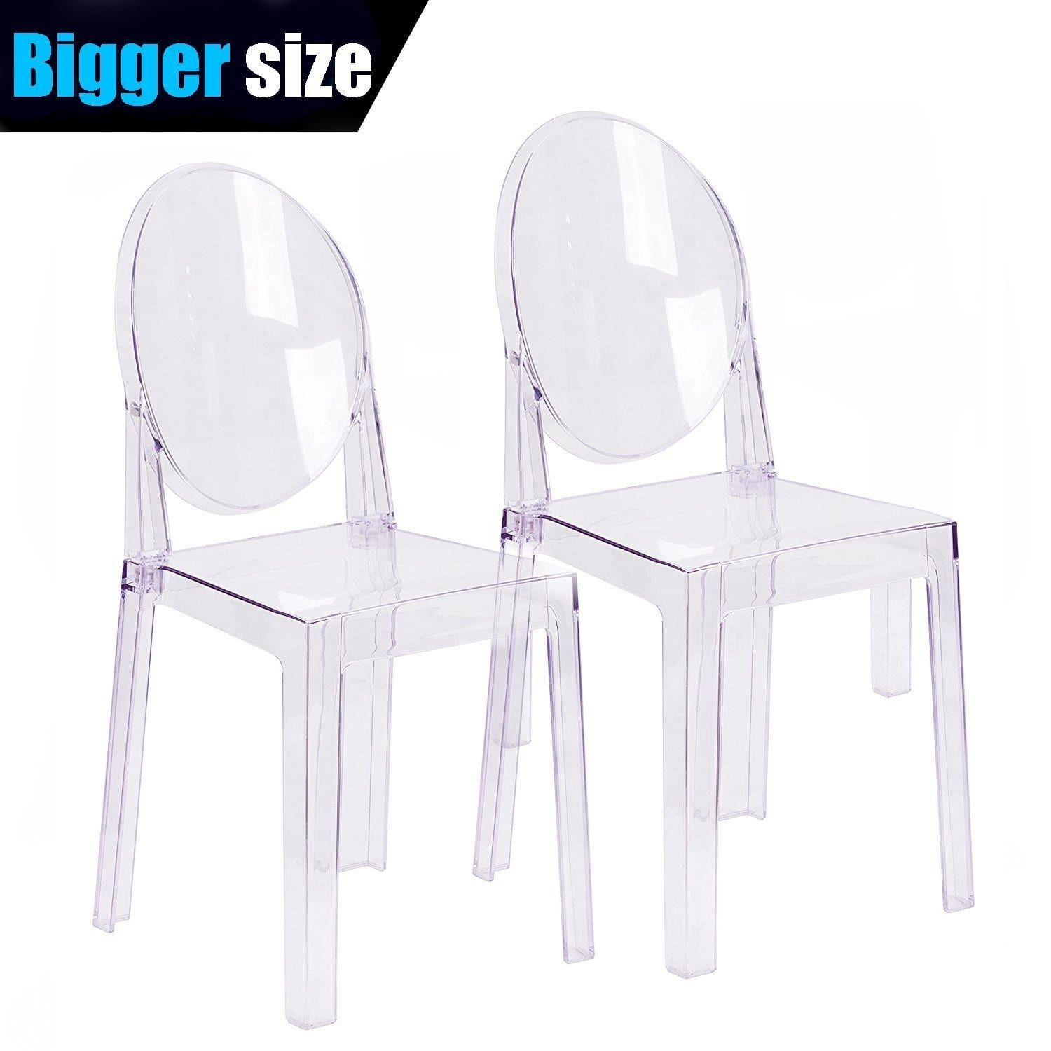 2xhome Set Of 4 Larger Clear Plastic Dining Chairs Designer Side