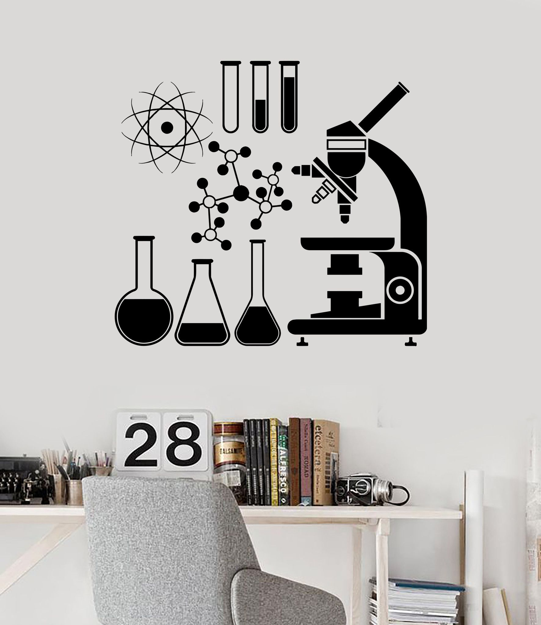 Wall Vinyl Decal Microscope Science Scientist Chemistry
