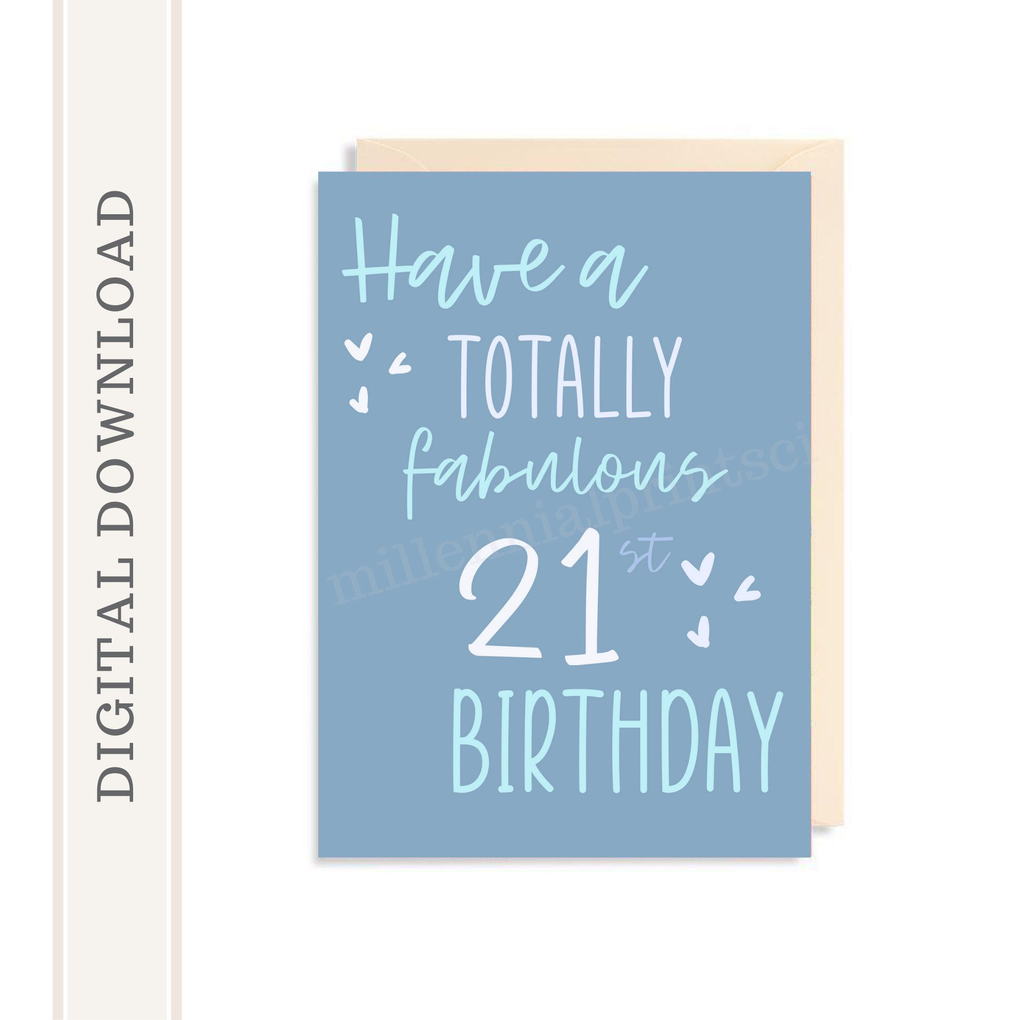 Excited To Share This Item From My Etsy Shop 21st Birthday Card For Son Grandson Printab Birthday Card Printable Birthday Cards For Son 21st Birthday Cards