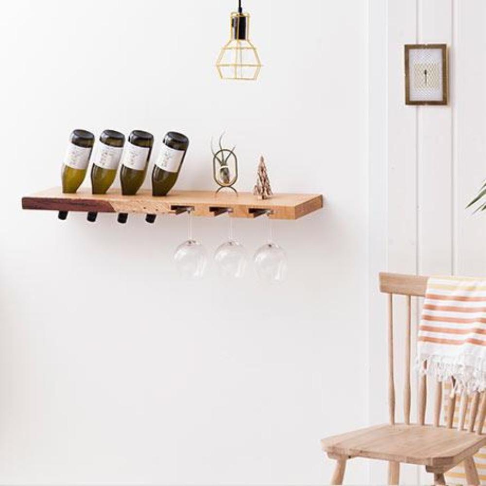 Weinregal 'Weinglas  und Flaschenregal aus Holz'   Wildkirsche