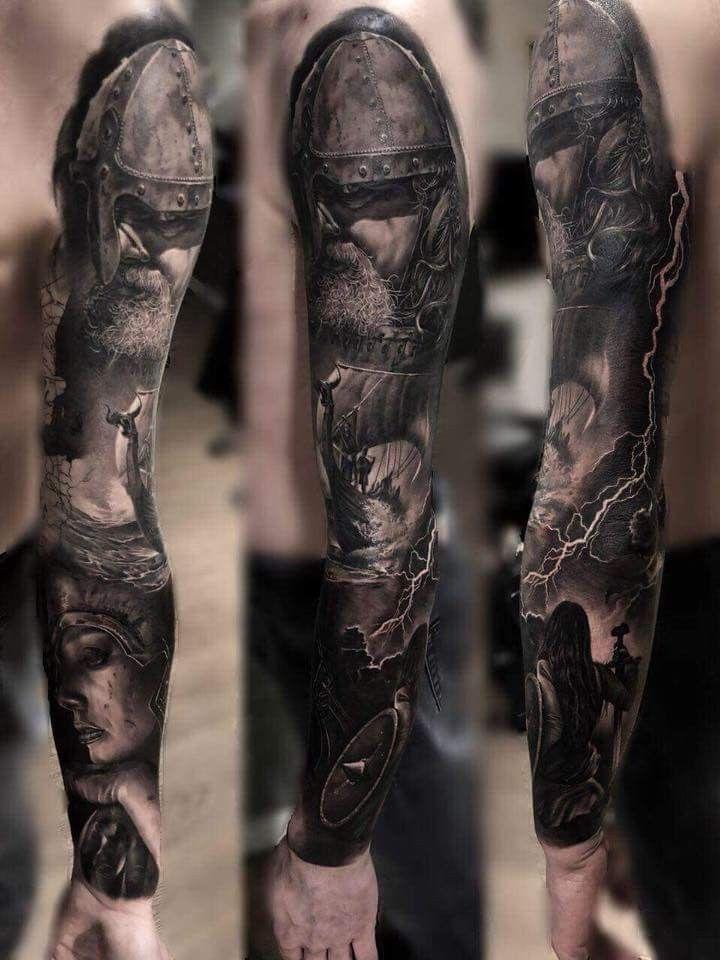 Viking tattoo full sleeve