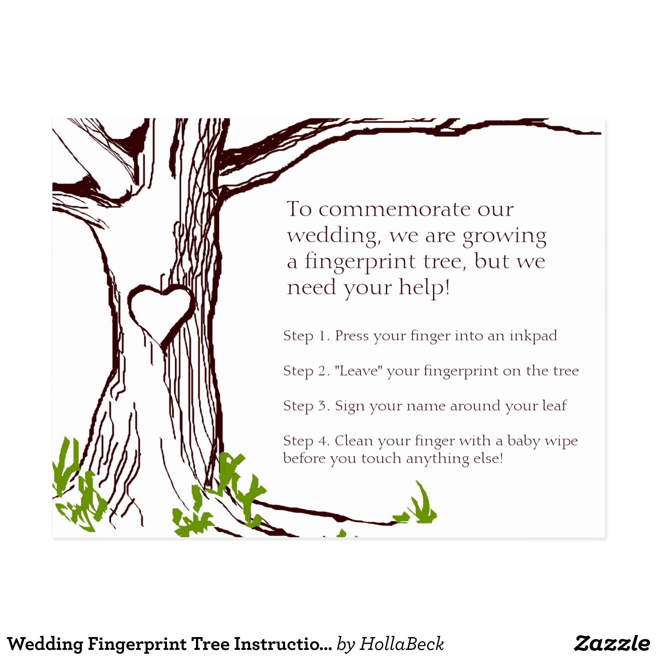 Wedding Fingerprint Tree Instruction Card   Wedding ...