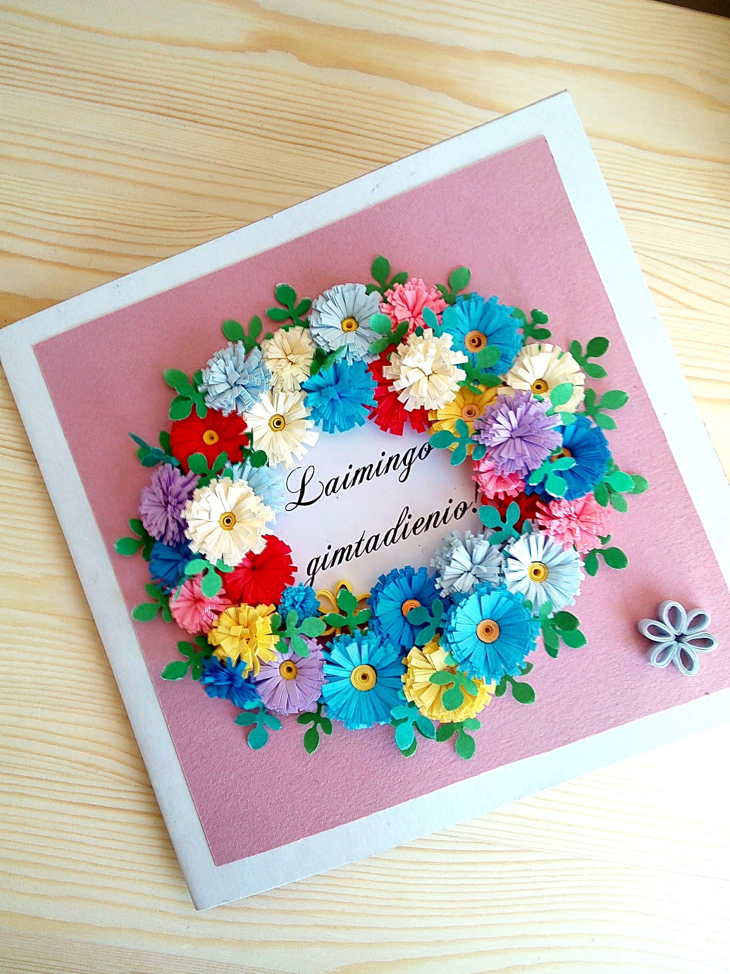 Hand Made Quilling Paper Flowers Wreath Happy Birthday Card Baltic