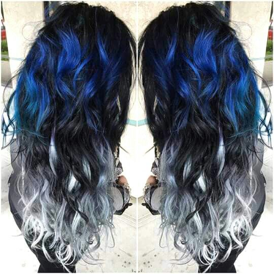 Blue Black And White Hair Color Hair Styles Hair Color Blue Silver Ombre Hair
