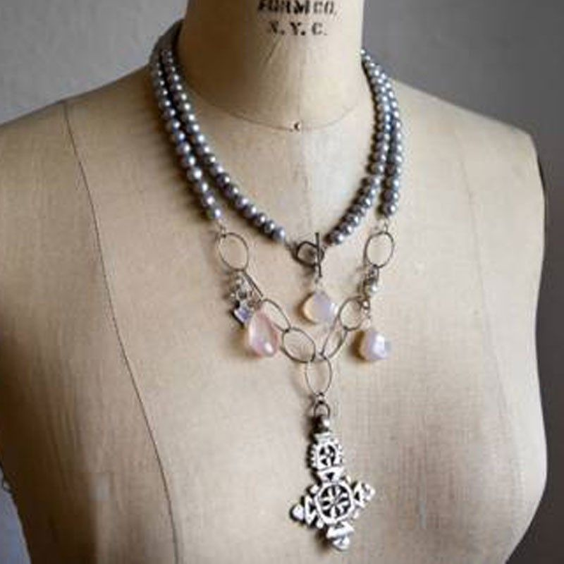 Bittersweet Designs Handmade Pearl and Cross Necklace handmade in