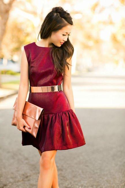 Beautiful burgundy dress with golden belt