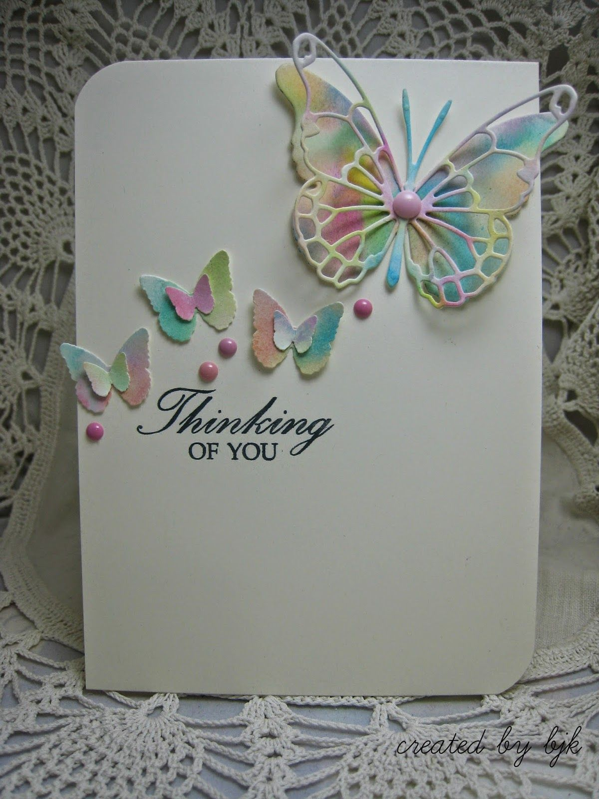 Thinking of you card using watercolor butterflies via createdbybjk thinking of you card using watercolor butterflies via createdbybjkspot kristyandbryce Choice Image