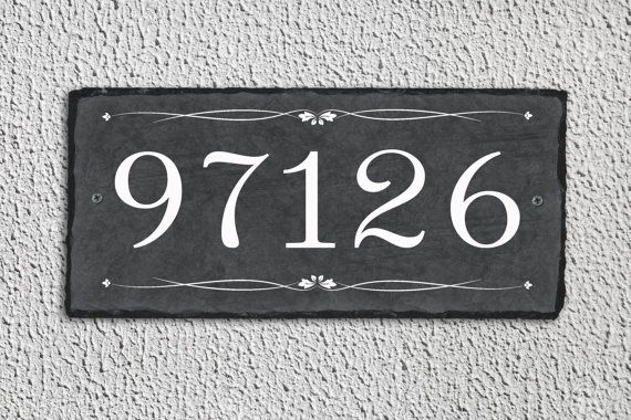 House Number Plaque Slate Number Sign Outdoor Sign Outdoor