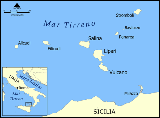 Map of Eolian Islands the seven sisters Islands around Sicily