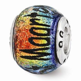 Sterling Silver Reflections Cozumel Orange Dichroic Glass Bead