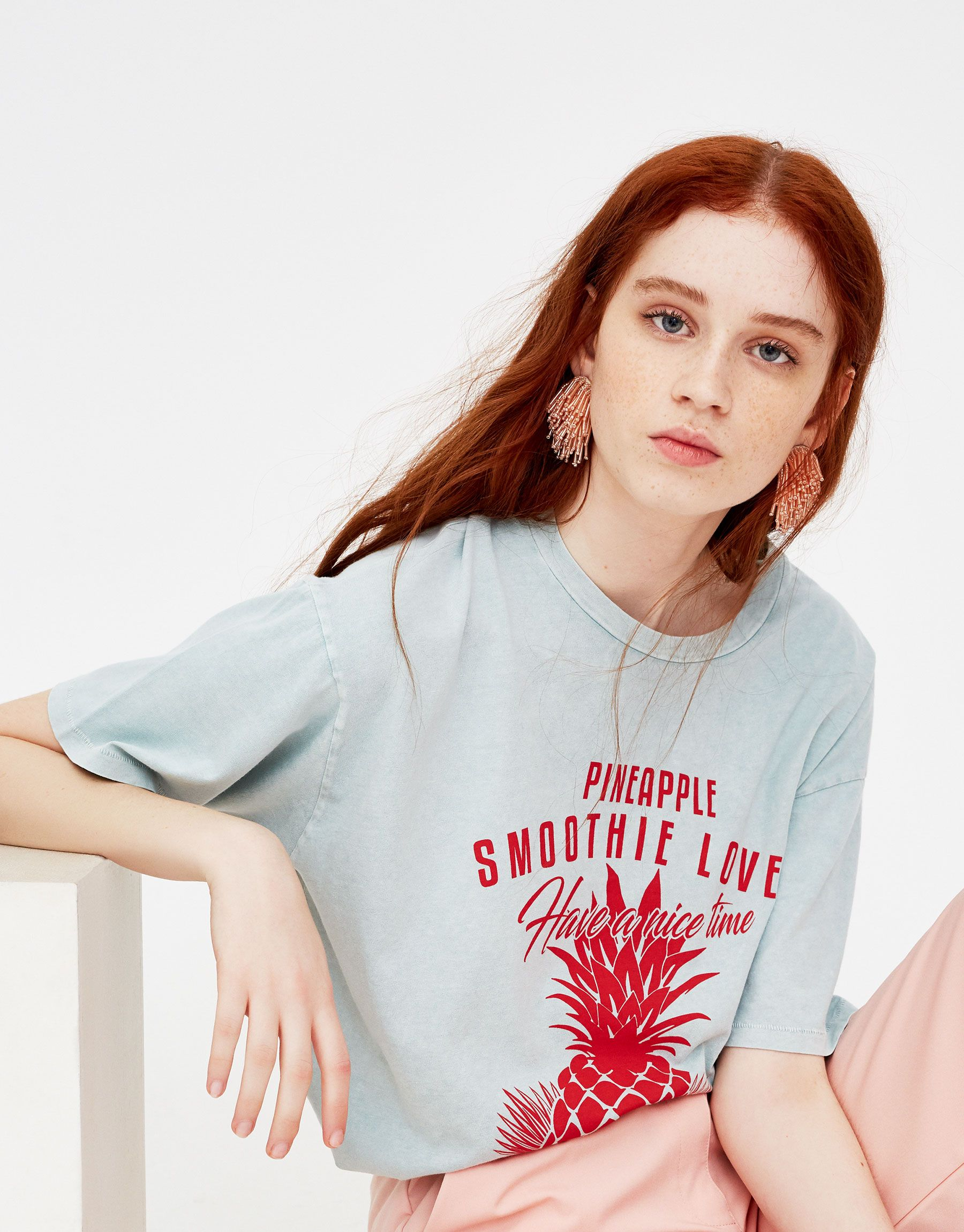 Pineapple Print T Shirt T Shirts Clothing Woman Pull Bear United Kingdom Frauen T Shirts Kleidung Kleidung Damen