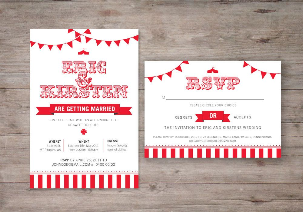 Carnival Wedding Invitation SAMPLE Weddings