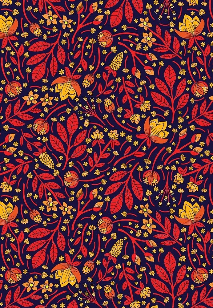 Saturated Red, Yellow & Orange & Dark Navy Blue Floral