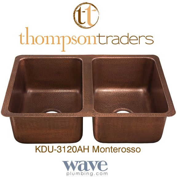Thompson Traders   Copper Kitchen Sinks Monterosso   KDU 3120AH Double Bowl  Hammered Copper Sink