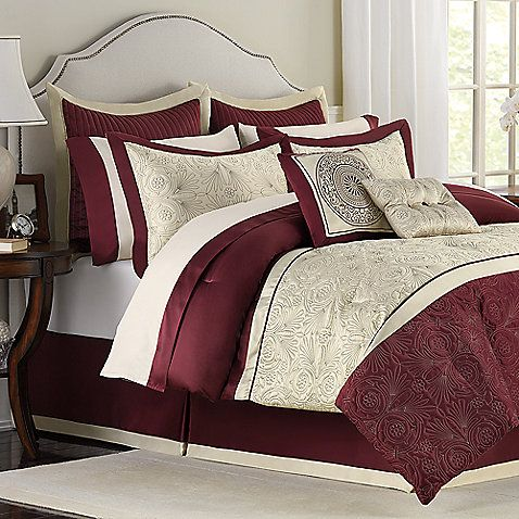 Trevi 12 Piece Full Bedding Superset Red Gold Cream Bedspread Comforter 79 99 Clearance Bed Red Home Decor Bedroom Design