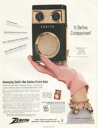 Zenith Transistor Radio ad 1956