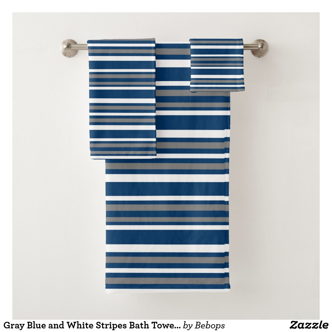 Gray Blue And White Stripes Bath Towel Set Zazzle Com Striped