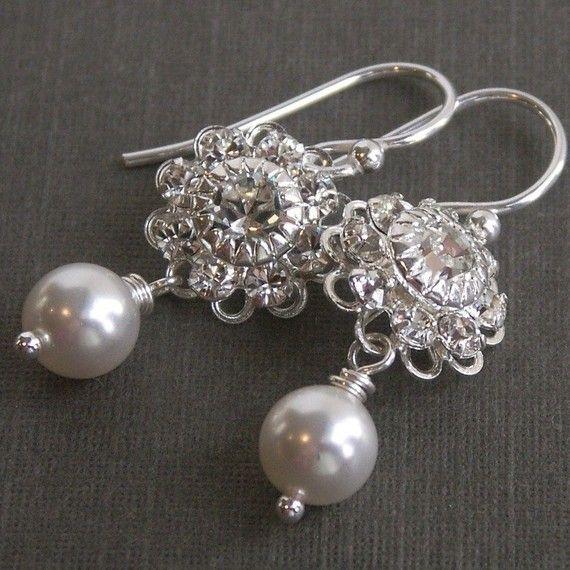 Rhinestone & pearl earrings, vintage inspired bridesmaid jewelry, rhinestone filigree, white pearls, silver earrings