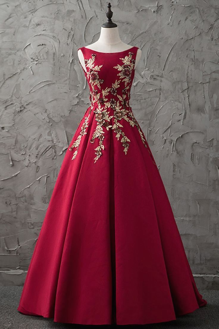 Burgundy satin long gold appliqués evening dresses prom dress
