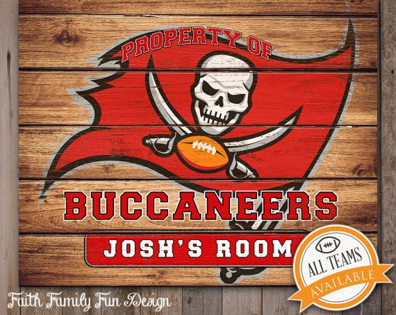 Nfl Tampa Bay Buccaneers Team Sign Printable Personalized Man Cave Room