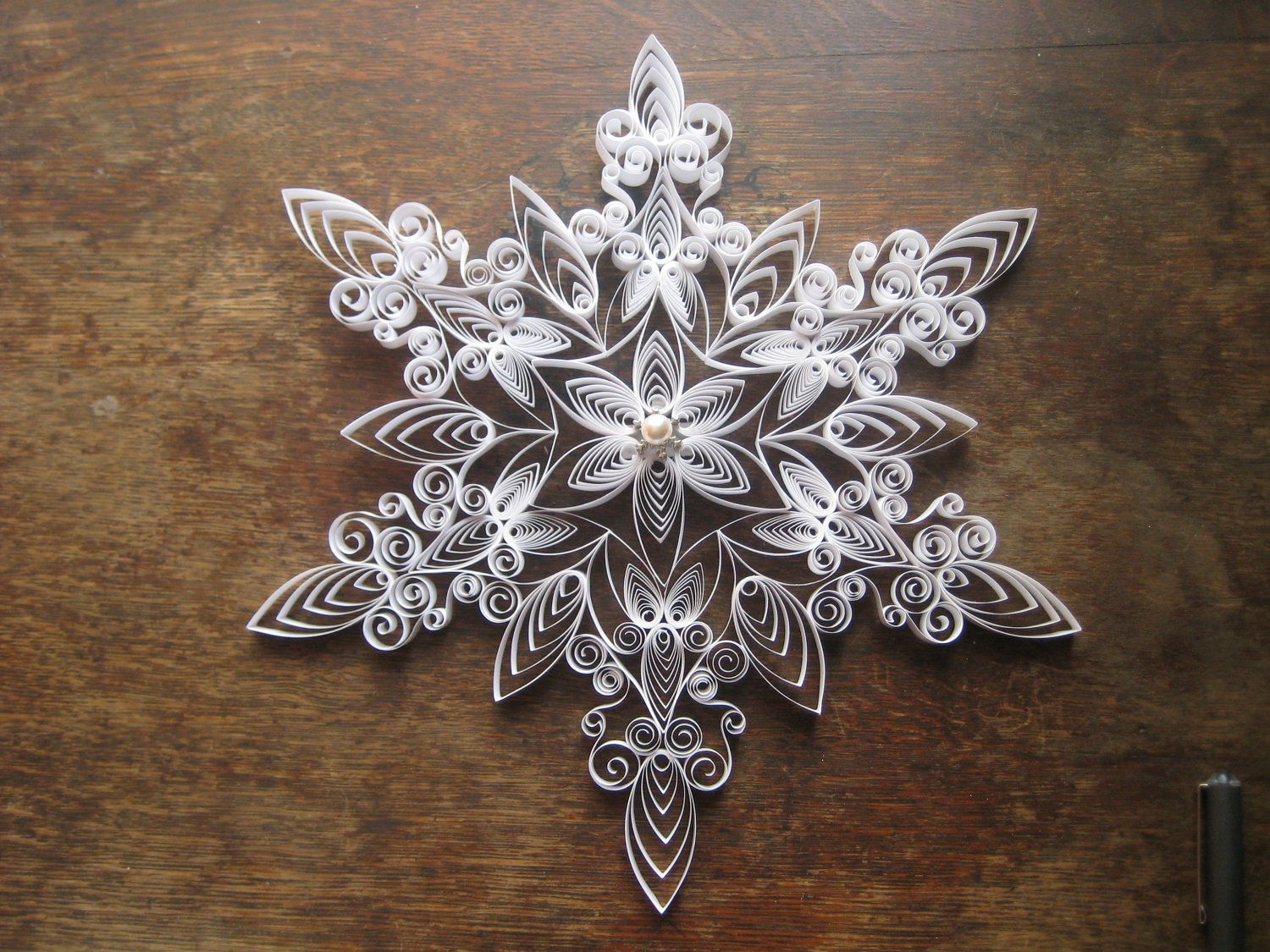 One Set Of Large Quilled Snowflakes Quilling Quilling border=