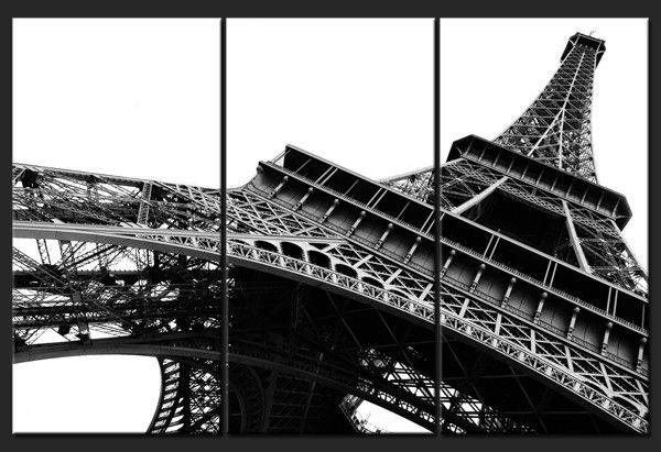 Tableau Triptyque Tour Eiffel En Noir Et Blanc Les Idées - Eiffel chambre de la tour des idees de decoration