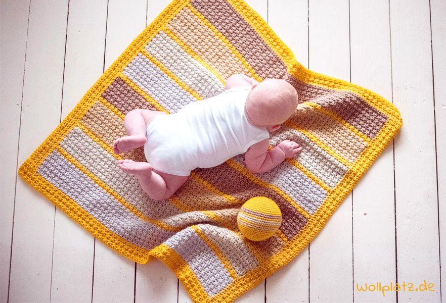 Gratis Häkelanleitung moderne Babydecke aus Yarn and Colors Super ...