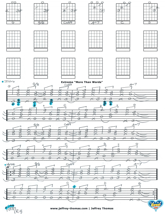 More Than Words Guitar Tab By Extreme Learn This Awesome Acoustic