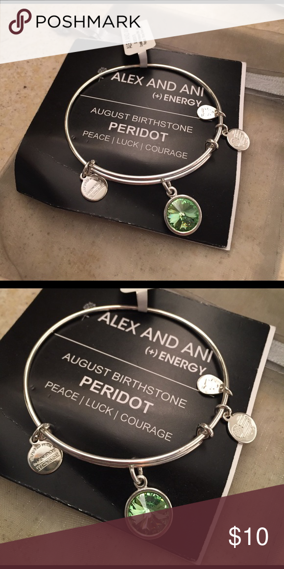Alex And Ani August Birthstone Bracelet Peridot Perfect Condition New With Tags Peace Luck Courage