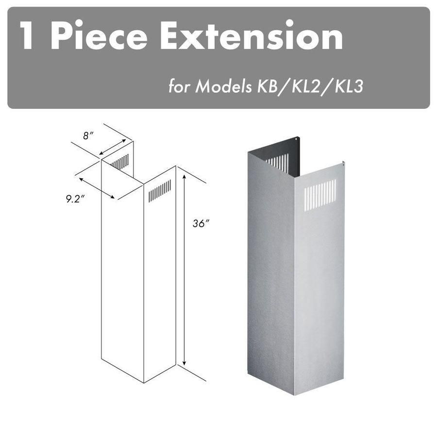 Compatible ZLINE models: KB (all sizes), KL2 (all sizes), KL3 (all sizes). Material: 430 brushed stainless steel. Dimensions: one 9.2 in. wide x 8 in. deep x 36 in. tall piece. This 36 in tall chimney piece will be used with one of the standard 16 in chimney pieces (supplied with your order) to allow for mounting up to a 10 foot ceiling. ZLINE KITCHEN & BATH ZLINE 1-36 in. Chimney Extension for 9 ft. to 10 ft. Ceilings Stainless Steel | 1PCEXT-KB/KL2/KL3