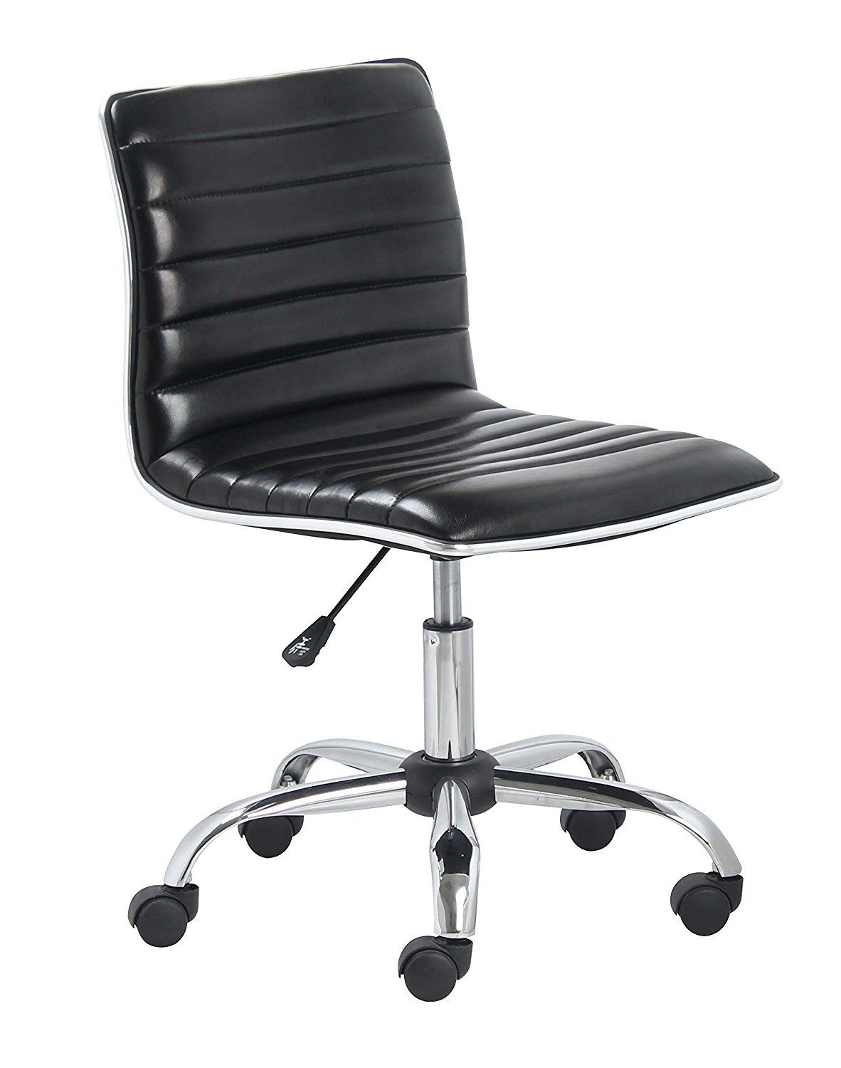 Office Chair Upholstery Repair Wheelchair Legs Mid Back Armless Ribbed Task Leather Black Chrome