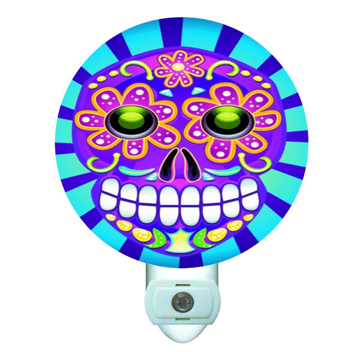 Day of the Dead Skull Decorative Round Night Light