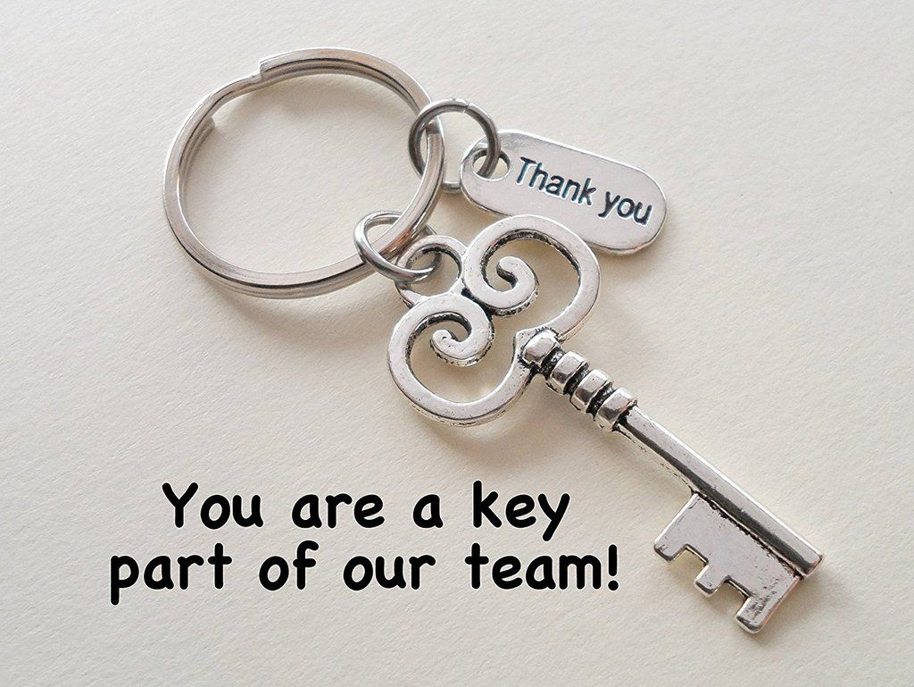 Employee Appreciation Gifts • Thank You Tag & Silver Key Keychain by JewelryEveryday w/ You are a key part of our team! Card