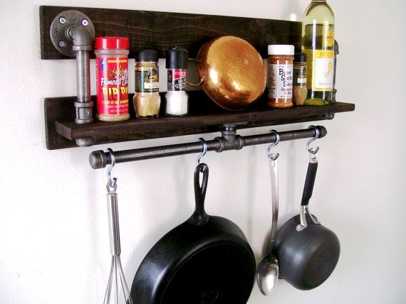 Rustic Industrial Spice Rack Kitchen Shelf Pot Rack Pipe Shelf Available with Black or Silver Pipe Kitchen Orgainizer Eco Friendly